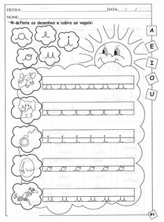 Atividades para alfabetização Preschool Art Projects, School Projects, Writing Help, Pre School, Worksheets, Alphabet, Bullet Journal, Classroom, Teaching