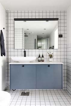 Don't be afraid to have fun with colours and patterns! A.S.Helsingö bathroom furniture in Petrol Blue built on IKEA METOD cabinets. #bathroom #bathroominspo #styling