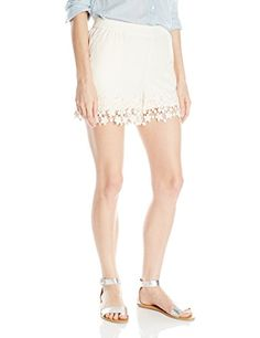 Kensie Womens Crepe Lace Short Vanilla XSmall * Check out the image by visiting the link. Lace Shorts, Work Wear, Casual Shorts, Formal Dresses, Vanilla, Image Link, How To Wear, Socks, Blouses