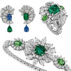 Dior Joaillerie- White gold Volant Émeraude earrings with diamonds, sapphires and emeralds. White gold Plumetis Émeraude ring with an emerald, diamonds and tsavorite garnets.  White gold bracelet with diamonds, emeralds and tsavorite garnets from the new