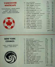Vancouver W 1 N York Cosmos 2 in July 1975 at the Empire Stadium. The team sheets for the friendly.