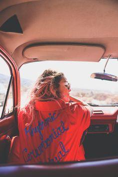 festival wear, vintage jumpsuit, red, festival outfit, ldv vintage, boho bunnie, joshua tree, desert vibes, ashley marie myers, festival gear, vintage outfits, vintage wear, boho, vintage car, red car,