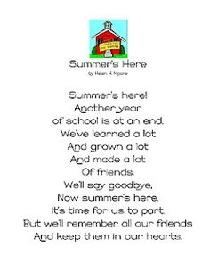 This is a cute poem about summer for all of you with