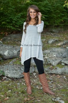 The Pink Lily Boutique - Off The Cuff Gray Top, $28.00 (http://thepinklilyboutique.com/off-the-cuff-gray-top/)
