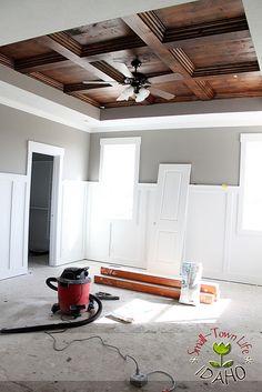 hubby's office!  -  tutorial link here:  http://andrewrachelashmore.blogspot.com/2012/04/master-bedroom-wood-ceiling-diy.html