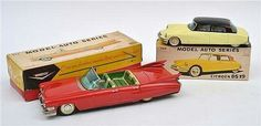 Bandai (Japan) friction tinplate Cadillac Convertible, red with green lithographed interior; and Citroen DS19, cream with black roof and colourful lithographed interior (E-M boxes G-VG) (2) Longest 30 cm