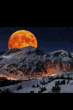 Winters moon shines so red