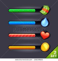game resource bar set, loading set, vector game assets