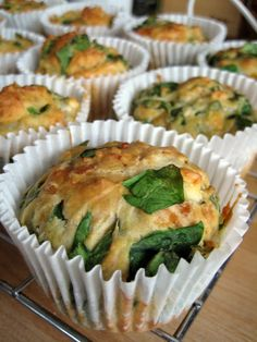 Feta, Cheddar and Spinach Muffins. This will require some substitution (olive oil for butter, non-dairy milk for milk and no cheddar just feta) but it sounds delicious. I Love Food, Good Food, Yummy Food, Healthy Food, Healthy Eating, Yummy Treats, Great Recipes, Favorite Recipes, Easy Recipes