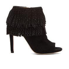BCBGMAXAZRIA Raimi Bootie Shoes (16920 DZD) ❤ liked on Polyvore featuring shoes, boots, ankle booties, booties, fringe ankle bootie, fringe boots, short fringe boots, fringe booties and high heel ankle boots
