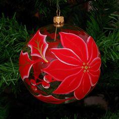 Globuri de craciun, Glob din sticla SF0012 Glass Christmas Ornaments, Christmas Decorations, Holiday Decor, Glass Ball, Poinsettia, Christmas Time, Centerpieces, Hand Painted, Florals