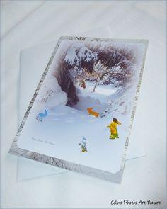 """Carte double 10,5x15cm réalisée à partir d'une photo de paysage de neige et de lapinous """" Arrivée du printemps """" : Cartes par celinephotosartnature"""