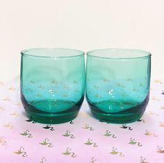 Aqua Juice Glasses // Short Green Anchor Hocking Drinking Glasses // Light Green Lowball Glasses // Teal Cocktail Glasses // Set of 2 by TheLastFlamingo on Etsy https://www.etsy.com/listing/486314372/aqua-juice-glasses-short-green-anchor