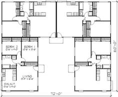 23 trendy party house plans dream homes Duplex Floor Plans, House Floor Plans, Duplex Design, House Design, Co Housing, Courtyard House Plans, Family House Plans, Multi Family Homes, Apartment Plans