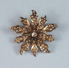 Victorian 10K Gold Brooch Seed Pearls Diamond by PastSplendors, $299.00