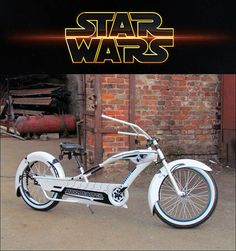 """undertherubble: """" Custom Stormtrooper Bike Star Wars fan Dee Troy created a striking custom bicycle cruiser using the colors and pattern of Stormtrooper armor. He said it took time and money, but that he's happy with the result—and we can see why. Cruiser Bicycle, Trike Bicycle, Power Bike, Lowrider Bike, Chopper Bike, Star Citizen, Bicycle Design, Super Bikes, Vintage Bicycles"""