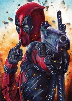 Sketch Card Art of the Day – Deadpool by Mick & Matt Glebe ⋆ Tom`s Take On Things Deadpool Tattoo, Deadpool Art, Deadpool Funny, Deadpool Movie, Deadpool And Spiderman, Deadpool Drawings, Films Marvel, Marvel Art, Marvel Dc Comics