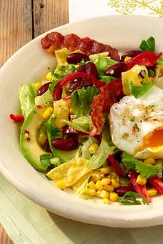 Mexico-Salat: Würziges Rezept mit Speck Mexican Food Recipes, Ethnic Recipes, Cobb Salad, Beverages, Rice, Snacks, Chicken, Meat, Low Carb