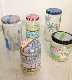 washi tape storage jars #washi #crafts #diy