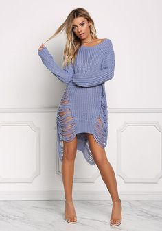 5af67280e0 Dusty Blue Frayed Thick Sweater Top - Sweaters + Cardigans - Tops - Clothes  Thick Sweaters