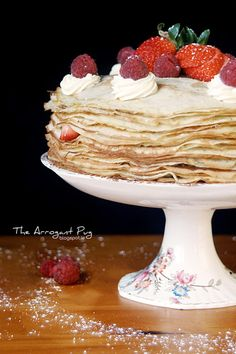 Recipe for a scrumptious crepes cake, filled with layers of strawberry jam, fresh strawberries bits and vanilla cream. Crepe Cake, Vanilla Cream, Strawberry Jam, Crepes, Strawberries, Layers, Griddle Cakes, Mille Crepe, Fresh