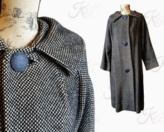 Black check 50s Vintage, Vintage Wool, Yellow Black, Wool Coat, Raincoat, Cold, Trending Outfits, Check, Baby