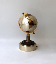 Vintage retro 1960s metal world globe cigarette holder by evaelena