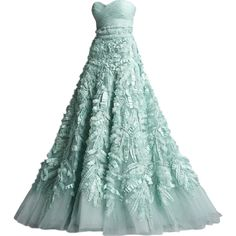 Zuhair Murad - edited by Satinee ❤ liked on Polyvore featuring dresses, gowns, vestidos, long dresses, green ball gown, murad dresses, green dress, long green dress and green evening gown