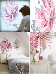 cross-stich paint a wall