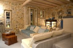 Antibes, Built In Couch, Living Styles, Stone Houses, Wooden House, Style At Home, Coastal Decor, Sweet Home, House Design