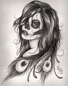 Sugar Skull with feathers.  Love this!!