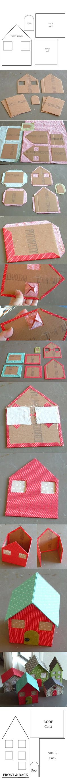 i'm thinking use different fabric and battery tea lights to make a christmas village. to make a How To: Make Your Own Doll House From Cardboard & Fabric Kids Crafts, Diy And Crafts, Arts And Crafts, Diy Projects To Try, Sewing Projects, Craft Projects, Cardboard Crafts, Paper Crafts, Cardboard Houses