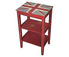 Mesa auxiliar en madera de abeto Union Jack - roja