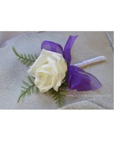 1 Single Rose Buttonhole in Ivory or White with PURPLE BOW - Artificial wedding flowers Groom, Guests