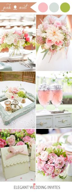 mint green and pink wedding color ideas