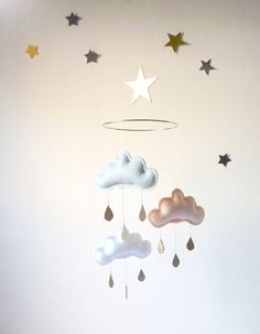 """Grey,Peach,White cloud mobile for nursery with gold star """"MEGHAN"""" by The Butter Flying-Rain Cloud Mobile Nursery Children Decor"""
