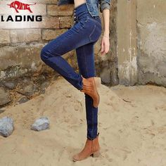 New winter plus thick velvet waist pencil pants washed jeans Slim was thin pencil woman