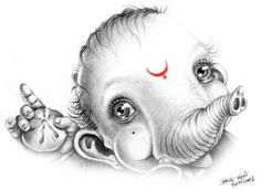 Religion & Co Ganesha Sketch, Ganesha Drawing, Lord Ganesha Paintings, Ganesha Art, Indian Gods, Indian Art, Ganesh Lord, Sri Ganesh, Baby Ganesha