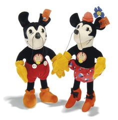 Vintage Steiff Mickey and Minnie. Closed mouth dolls. Made in Germany for the American Market.