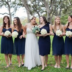 Image result for bridesmaids different shades of navy