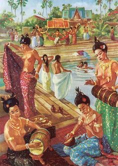 """""""Among women of the noble houses one finds many as light as jade. Strings and drums entertain royal women bathing at Angkor"""" by Maurice Fievet Artistic Visions, Khmer Empire, Asian History, British History, Thai Art, Indian Paintings, Art Paintings, Pulp Art, French Artists"""