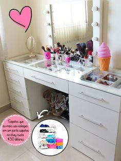 Hate the mirror, but i love those glass drawers! Make Up Storage, Diy Kitchen Storage, Vanity Room, Diy Vanity, Sala Glam, Glam Room, Paint Colors For Living Room, Beauty Room, Home Organization