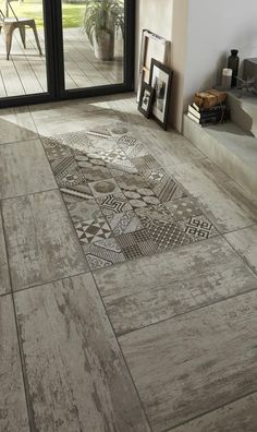 Love this tile for the shower. can frame it in white washed wood tile on one wall and just have white washed wood on the other wall with the darker shade of wood on the floor continuing into bedroom. Floor Design, Tile Design, House Design, Floor Patterns, Kitchen Flooring, Interior And Exterior, Interior Decorating, New Homes, Sweet Home