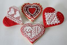 lace decorated cookie gallery | My little bakery :): Valentine's Day cookies