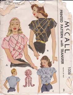 1947 McCall 1338 blouse vintage sewing pattern