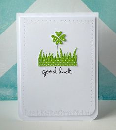 Lawn Fawn - Sophie's Sentiments, Grassy Border Lawn Cuts die, Hearts Lawn Cuts die _ Fabulous Good Luck card by Kate via Flickr - Photo Sharing!