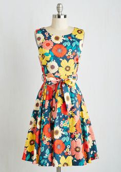 Hour by Flower Floral Dress in Retro Blossom. For a friend-filled soiree, the last thing you want to worry about is your outfit. #multi #modcloth