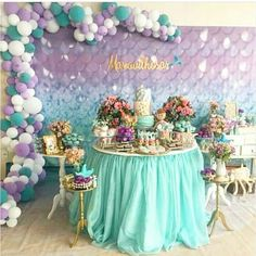 Mermaid Birthday Decorations, Mermaid Theme Birthday, Rainbow Birthday, Balloon Decorations, Pastel Party, Colorful Party, Mermaid Baby Showers, Little Mermaid Parties, Birthday Parties