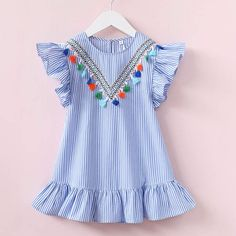 Hurave girls dress girl clothing tassel dress for girl striped robe fille ruffles kids clothing beautiful blue vestidos - Kid Shop Global - Kids & Baby Shop Online - baby & kids clothing, toys for baby & kid Little Girl Dresses, Girls Dresses, Dress Girl, Baby Dresses, Kids Summer Dresses, Dress Summer, Summer Girls, Summer Outfit, Summer Clothes