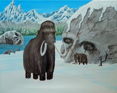 SALE! MAMMOTH Fantasy ORIGINAL Acrylic Painting 16x20 Wooly Mammoth Mountains Primitive Snow Skull Rock Ice Age Elephant Winter Prehistoric by ABrushOfLife on Etsy